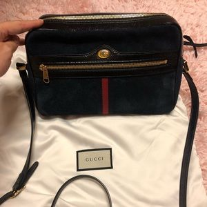 Gucci Ophidia large blue suede bag